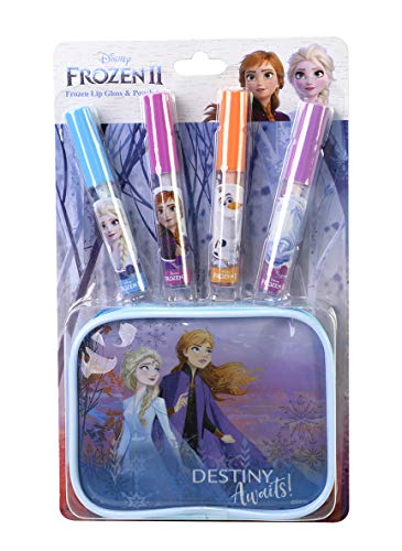embb Empeak Markwins Beauty Frozen II Lipgloss-Set 4-teilig mit kleiner Beauty-Tasche, Bunt, 1599004E