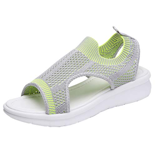 Damen Sandalen Plateauschuhe mit Wedge Platform Mesh Slingback Peep Toe Slip On Sommer Outdoor Sandals Freizeitschuhe(2-Grau/Gray,41)