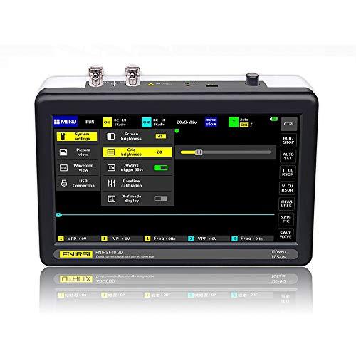 KKmoon Oszilloskop Digital 2-Kanal 100 MHz Bandbreite 1GSa / s Abtastrate Oszilloskop mit 7-Zoll-Farb-TFT-LCD-Touchscreen Eingebaute Lithiumbatterie