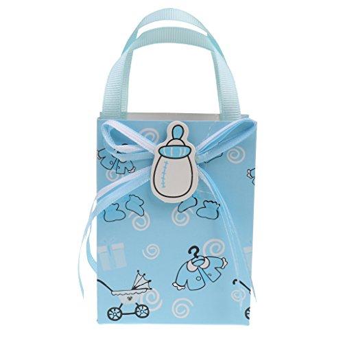 D DOLITY 12pcs Bolsas de Regalo de Bautizo de Bebé Decoración de Fiesta de Cumpleaños - Azul