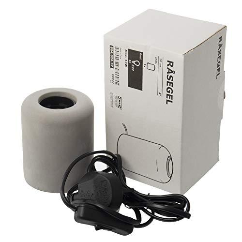 IKEA RASEGEL Bare Table Lamp Base, E27, Grey, Concrete (UK Plug)