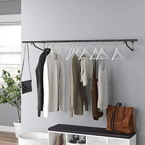 Barra appendiabiti da parete, a tubo, per appendere, per negozio ed esposizione, metallo, Black, 4FT