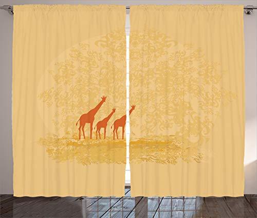 ABAKUHAUS Retro Rustikaler Vorhang, Retro Safari Giraffen, Wohnzimmer Universalband Gardinen mit Schlaufen und Haken, 280 x 245 cm, Orangencreme