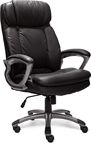 Serta Big & Tall Executive Office Chair High Back All Day Comfort Ergonomic Lumbar Support, Bonded Leather, Black
