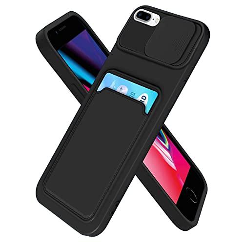 IEMY Funda para iPhone 7/ iPhone 8/ iPhone SE 2020 Deslizante Cámara Proteger con Tarjetero Cartera para Porta Tarjetas Carcasa Anti Arañazos Protección Cubierta cámara Case - Negro