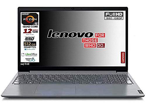 Notebook Lenovo SSD Amd Ryzen 5 SSD da 512Gb Nvme, 12Gb DDR4, Display Full Hd da 15,6 Antiglare, web cam, 3 usb, hdmi, Win10 Pro, Libre Office, Pronto All'uso garanzia e tastiera Italiana