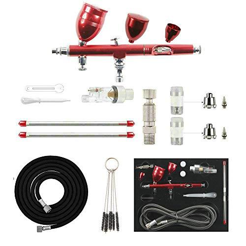 ABEST Kit Pistolet aérographe Professionnel à Double Action pour travaux manuels et travaux manuels, modèles réduits et radiocommandés, Rouge