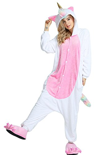 Mystery&Melody Unicornio Pijamas Cosplay Unicorn Disfraces Animales Franela Monos Unisex-Adulto Ropa de Dormir Disfraces de Fiesta (S, Gold Horn)