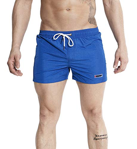 """WUAMBO Men's Quick Dry Solid Shorts Lightweight Mens Swim Trunk with Mesh Lining,Pocket/Blue 3XL(Waist:37""""-39"""")"""
