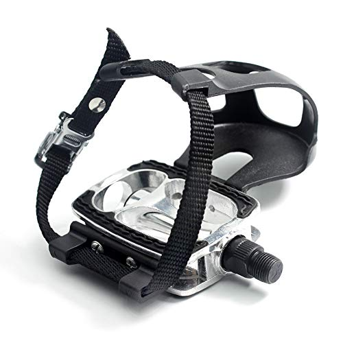 HILAND DRBIKE Fahrradpedal 9/16 Zoll mit Straps, rutschfest, Aluminiumlegierung, Innen Trainingspedale für Heimtrainer, Fitnessbike, Fixed Gear Bike
