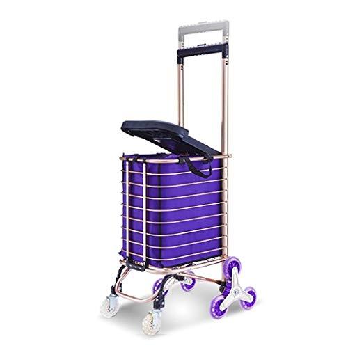 NBVCX Accueil Accessoires Chariot de magasinage Pliant 8 Roues/Siège/Sac d'une capacité de 30L Panier léger en Alliage d'aluminium Panier d'épicerie de marché Poignée réglable URG