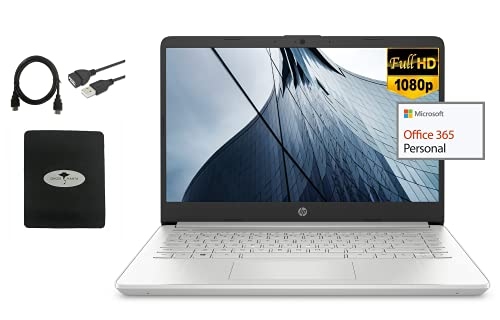 2021 Newest HP 14' FHD 1080P Light-Weight Laptop for Business and Student, 4-Core Intel Pentium N6000 (up to 3.3GHz), 8GB RAM, 64GB eMMC+128GB SSD, HDMI, WiFi, 1-Year Microsoft 365, w/GM Accessories