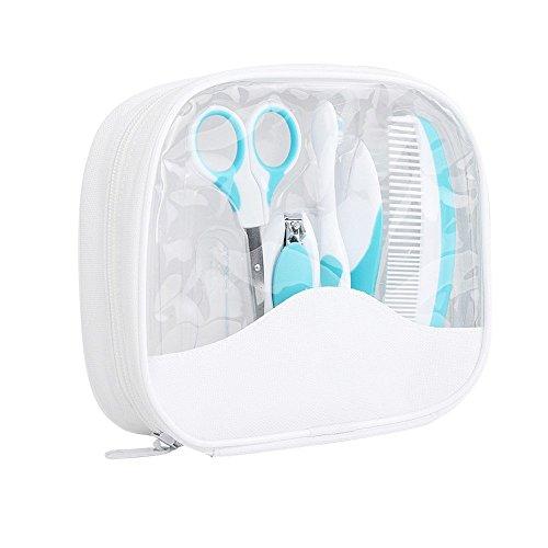Kit de toilettage pour bébé, Fushop Kit de nettoyage pour bébé -Nail Clipper & Ciseaux & Lime à ongles & brosse douce & Peigne & Brosse à dents et Finger Brosse à dents, Kit de Soin Bébé (Bleu)