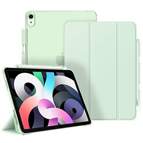 Fintie Funda para iPad Air 10,9' (4.ª Generación, 2020) con Soporte Integrado para Pencil - Trasera Transparente Carcasa Ligera Función de Auto-Reposo/Activación (Verde)