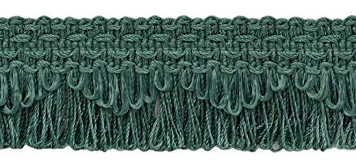 Decorative Peacock Light Blue Scalloped Loop Fringe / Braid, 35mm, 21.9 Meter Package, Style# 9115 Color: 9620 (72 Ft / 24 Yards)