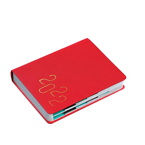WGH 2022 Planner-Weekly & Monthly Planner 2022,8.3″x5.7″,Jan.2022-Dec.2022,Leather Cover,A5 Premium Thick Paper,Perfect for Planning (Color : Red, Shape : Efficiency)