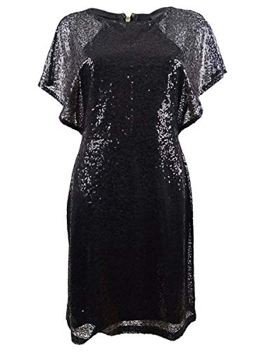 DKNY Womens Mini Sequined Party Dress Black 8