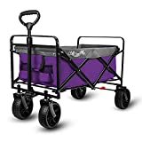 Beach Wagon Cart, Collapsible Folding Wagon with Big Rubber Wheels, Adjustable Handles and Brake, Heavy Duty Utility Wagon All Terrain Outdoor Camping Garden Grocery Wagon, Purple