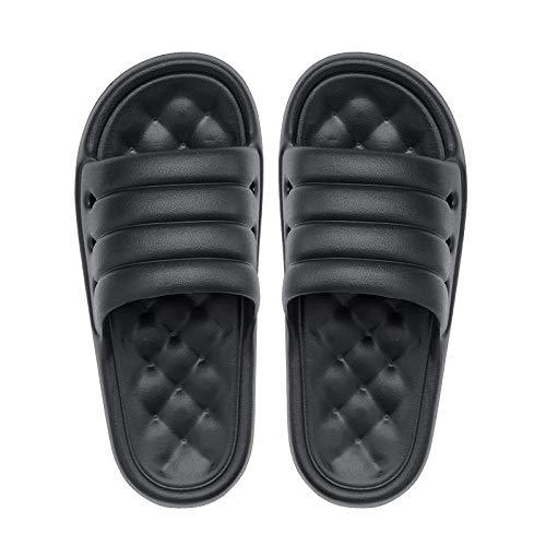 B&H-ERX Casa Mujeres Suela Gruesa Zapatillas de Baño Suela Gruesa Suave Interior Mute EVA Sofá Diapositivas Verano Antideslizante Hombres Amantes Plataforma Zapatos-Negro_42-43