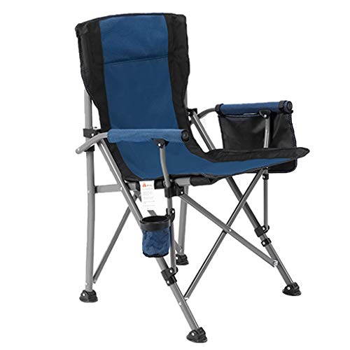 Silla De Camping Plegable Portátil Sillón De Playa De Ocio Al Aire Libre Sillas De Pesca con Bolsillo Lateral Y Portavasos relaxdays sillas (Color : Azul)