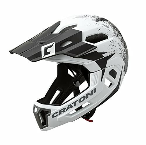 Cratoni C-Maniac 2.0 MX Fahrradhelm Fullfacehelm Downhill Freeride Kinnbügel abnehmbar (schwarz-Weiss, M/L (54-58 cm))