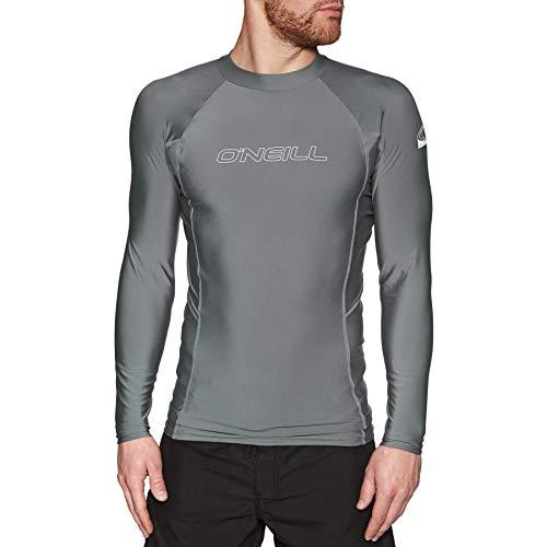 O';Neill Mens Basic Skins Langarm-Crew-Rash-Weste Top Smoke - UV-Sonnenschutz und SPF-Eigenschaften