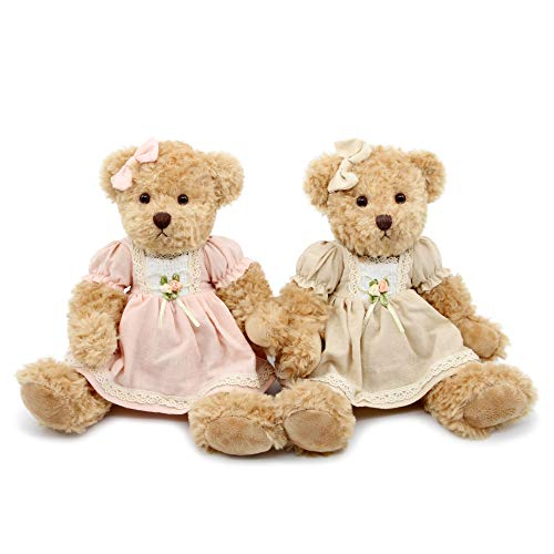 Oitscute 2-Pack Teddy Bear,Cute Stuffed Animal,Couple Gift Soft Plush Toy 11inch (Vintage Dress)