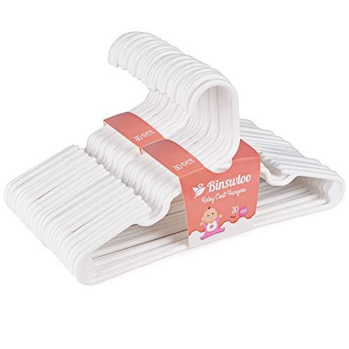 Binswloo Kinder-Kleiderbügel, Kunststoff, strapazierfähig, für Babys, Kinderzimmer, röhrenförmig, 30 Stück, Weiß