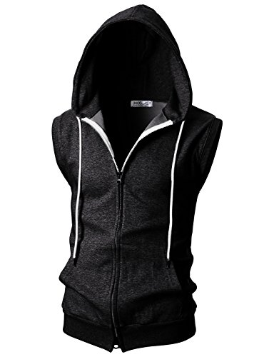 Ohoo Mens Slim Fit Sleeveless Lightweight Zip-up Hooded Vest With Double Slide Zipper/DCF011-CHARCOAL-XL