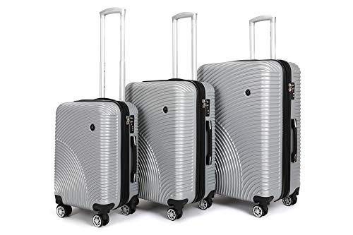 Ornate 3 Piece Luggage Set with Spinner Wheels - Hardside Expandable Suitcases for Travel (Silver Sets, Sizes 20, 26 and 30 Inch)