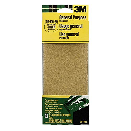 3M - 533440 9019 General Purpose Sandpaper Sheets, 3-2/3-in by 9-in, Assorted Grit
