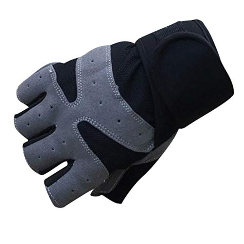 Bike Gloves Gel Pad Shock Absorbing Anti Slip Outdoor Sports Riding Working Half Finger Cycling Gloves Short Mountain Bicycle Motorcycle Gloves Breathable Gloves (Black, M)