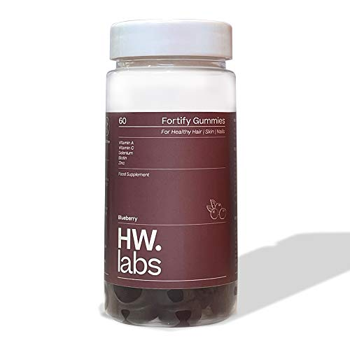 HW.Labs 60 Multivitamin Gummies for Healthy Hair, Skin & Nails with Vitamin C for Adults. Blueberry Flavoured Food Supplement. Suitable for Vegetarians. Soy Free, GMO Free and Dairy Free.