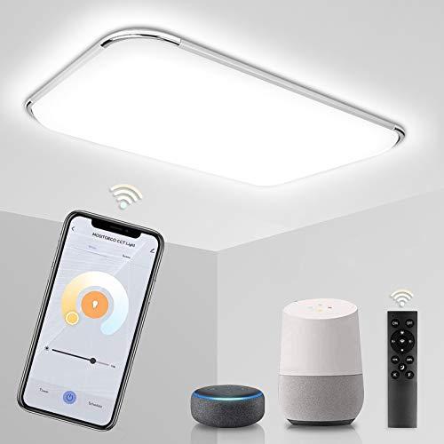 Hengda 48W Smart LED Deckenleuchte, Kompatibel mit Alexa Google Home, Dimmbar Deckenlampe mit Fernbedienung, Lichtfarbe Einstellbar, Lampe für Wohnzimmer Schlafzimmer Küche