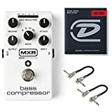 MXR M87 Bass Compressor Effects Pedal Bundle with 2 MXR Patch Cables and Dunlop Nickel Wound Bass...
