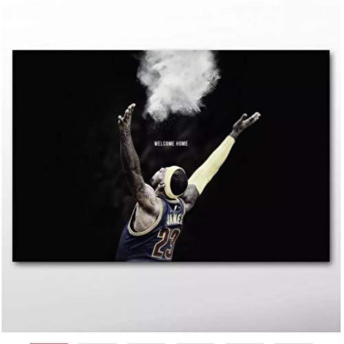 YXFAN Baloncesto deporte estrella fondo negro retrato carteles pared artelienzo pinturas para decoración de sala de estar-20x32 en sin marco