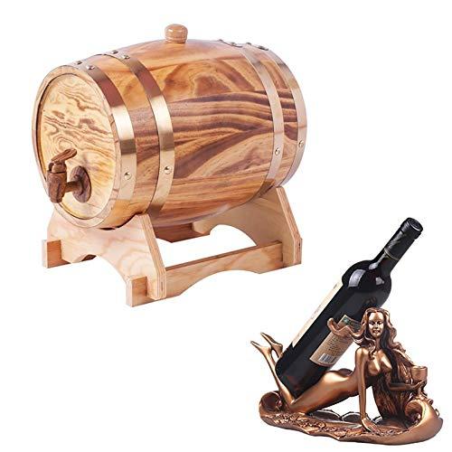 Yimihua Barril de Roble Barril de Roble, Dispensador de Barril de Madera, for Almacenamiento de Buen Vino, Brandy, Whisky, Tequila (Color : A, Size : 3L)