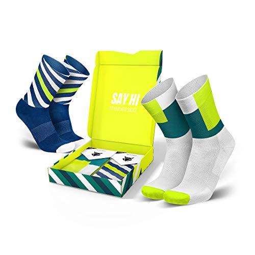 INCYLENCE Geschenkset - Curls und Squares Sportsocken lang, leichte Running Socks, atmungsaktive Funktionssocken mit Anti-Blasen Schutz, Socks Gift Box, mehrfarbig, Größe 43-46