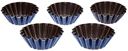 Mini Tart Molds - 5 pcs 1.97 inches Tartlet Tin - Pan Set Non-Stick Coating Easy to clean - Ideal for salty and sweet cakes