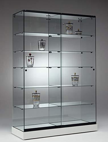 MHN Vitrina expositora grande y ancha con cerradura, de cristal blanco, con iluminación LED, enrollable, 125 cm de ancho