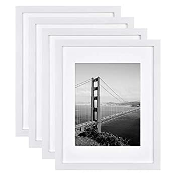 FRAMICS 4 Pack 11x14 Picture Frames Display Pictures 8x10 with Mat or 11x14 Without Mat White Picture Frames Made of Solid Wood for Wall Mounting or Table Top Mounting Hardware Included