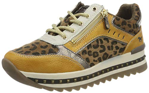 MUSTANG Damen 1347-304 Sneaker, 668 gelb/Leo, 40 EU