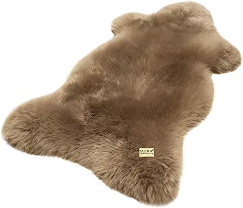 Zaloop Lammfell Schaffell Taupe (grau braun) echtes Fell Teppich Naturfell ökologisch (Taupe, ca.90-100 cm)