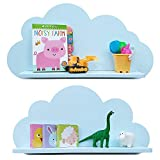 Mensole Cloud in bianco, grigio, blu e rosa, per la camera dei bambini (2 ripiani) Scaffali (Blu)
