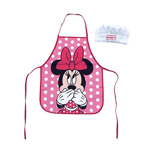 ARDITEX WD13026 Set de Cocina Infantil 2pzas (Delantal y Gorro de Chef) de Disney-Minnie