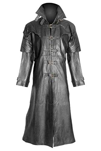 Harrypetter Hombres Abrigo de Cuero de Caballero Medieval Gabardina Negra Renacimiento Steampunk Disfraz de Escenario Victoriano, L