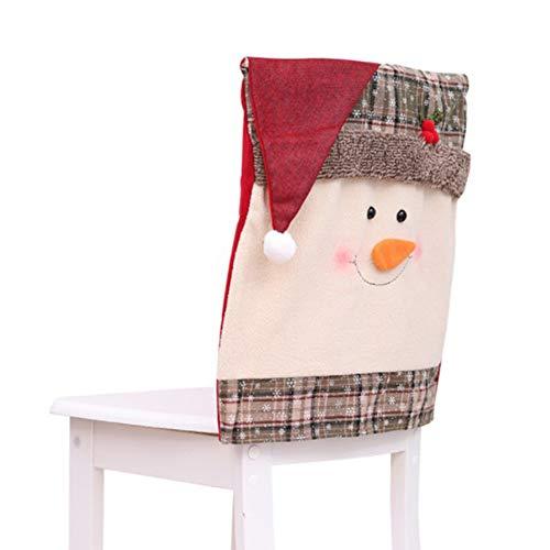 Firlar - Coprisedia natalizio con cappello di Babbo Natale, copertura posteriore per sedia da cucina, 2 pezzi, Pupazzo di neve, 48x51cm