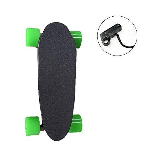 LUOZI Mini Electric Skateboard, Erwachsene Kleine Fischplatte mit Fernbedienung Höchstgeschwindigkeit 35 km/h, 7 Schichten Ahornholz, 220 lbs Max Last,Grün