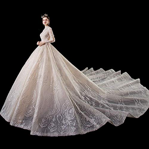 FTFTO Inicio Accesorios Vestido de Novia Elegante y Sencillo - Vestido de Cuello Alto a la Moda Vestido de Manga Larga Vestido de Castle Hotel (Blanco) Grande