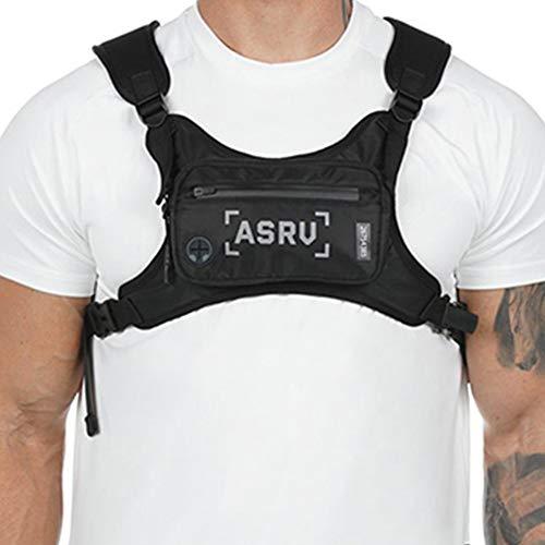Star Supermarket Brusttasche für Herren, lässiger Brustrucksack mit Kopfhöreranschluss, Brust-Rig-Tasche, Hip Hop, verstellbare Crossbody-Taschen für Outdoor-Wandern, Camping … (Weiß)